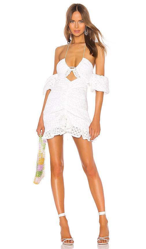 For Love & Lemons Sand Dollar Mini Dress in White. - size L (also in S)