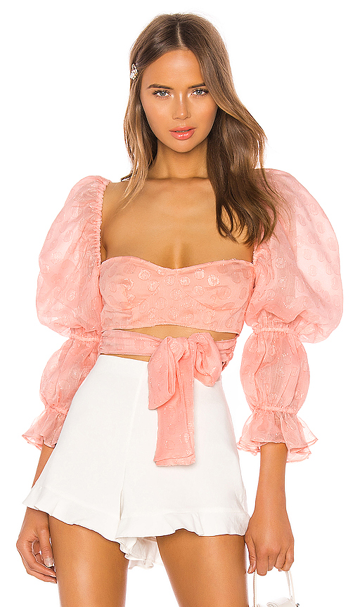 For Love & Lemons Hampton Crop Top in Pink. - size S (also in XS,M,L,XL)