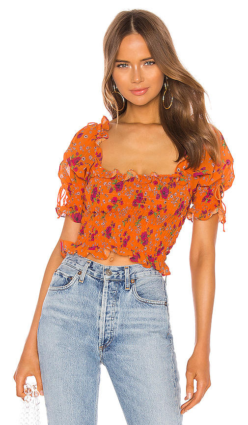 For Love & Lemons Peony Smocked Top in Orange. - size L (also in S,XS,M)