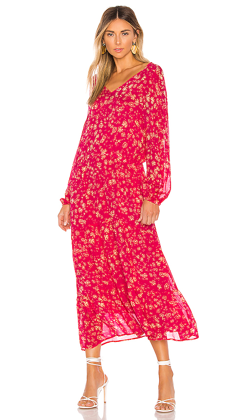 Free People Wall Flower Midi Dress in Pink. - size XS (also in S,M,L)