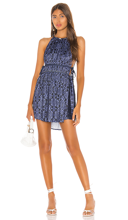 Free People Mid Summers Day Dress in Blue. - size L (also in XS,M,S)