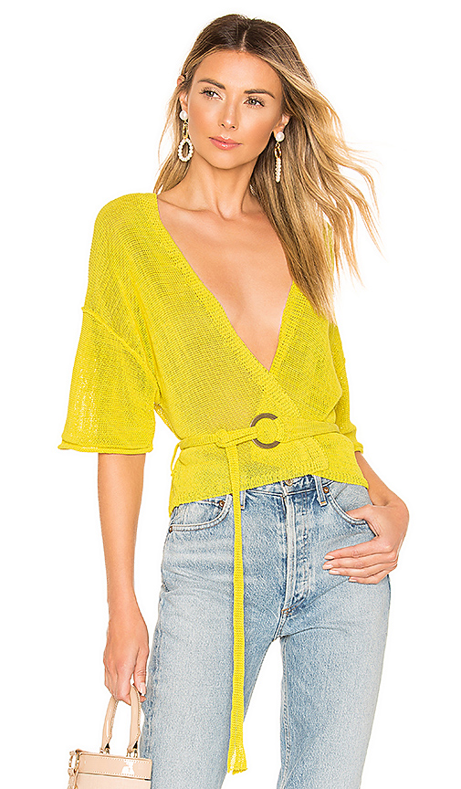 Free People Oh Hello Cardi in Yellow. - size L (also in XS,S,M)