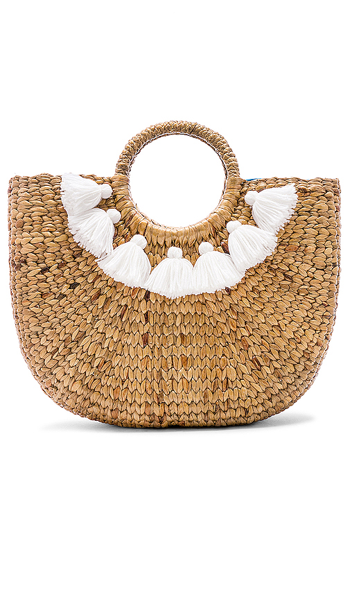 JADEtribe Small 7 Tassel Basket in Tan.