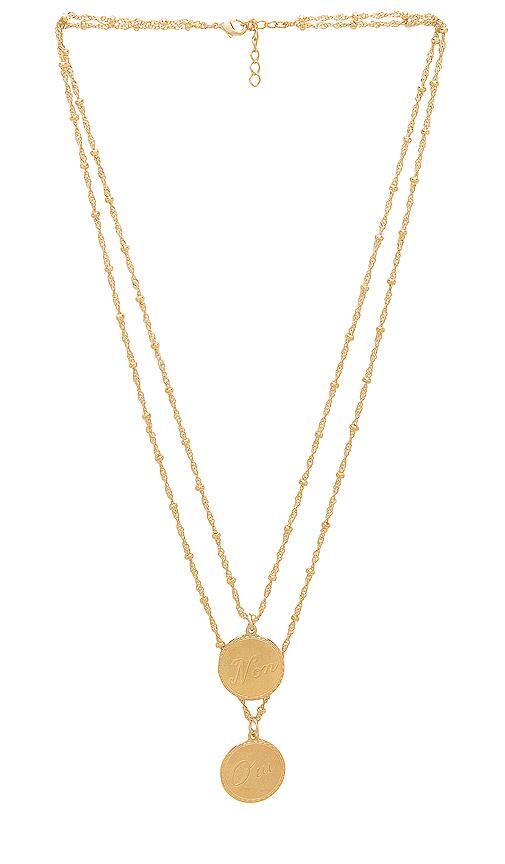 joolz by Martha Calvo Non & Oui Necklace in Metallic Gold.