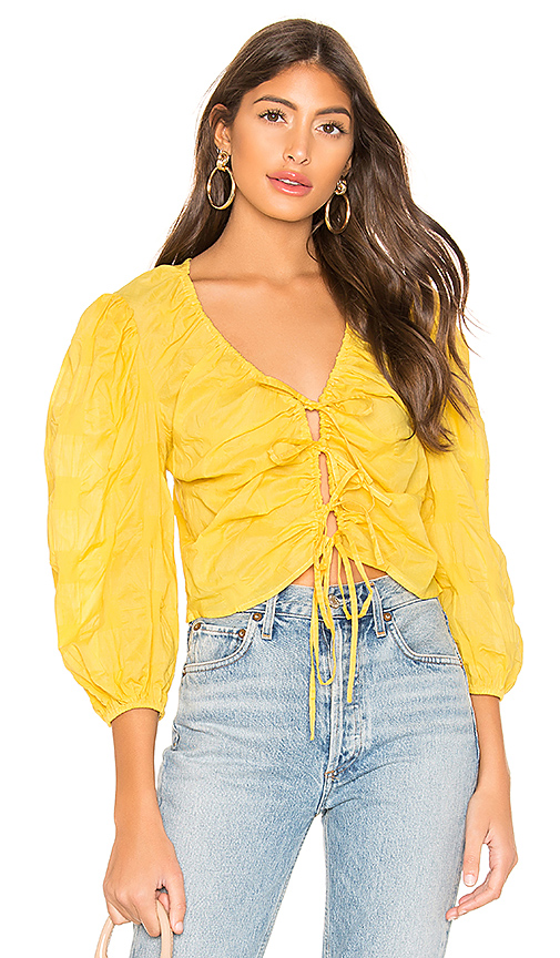 L'Academie The Melanie Blouse in Yellow. - size XXS (also in XS,S,M,L,XL)