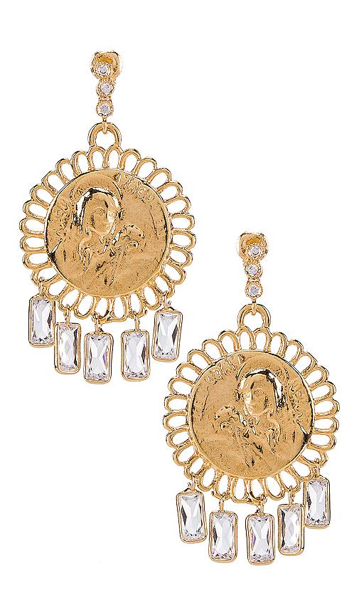 Lili Claspe Baguette Coin Studs in Metallic Gold.