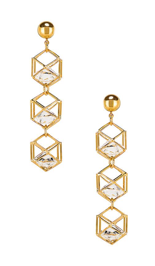 LARUICCI Caged Gem Earrings in Metallic Gold.
