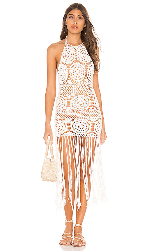 MAJORELLE Amy Crochet Dress in White. - size S (also in XS,M,L)