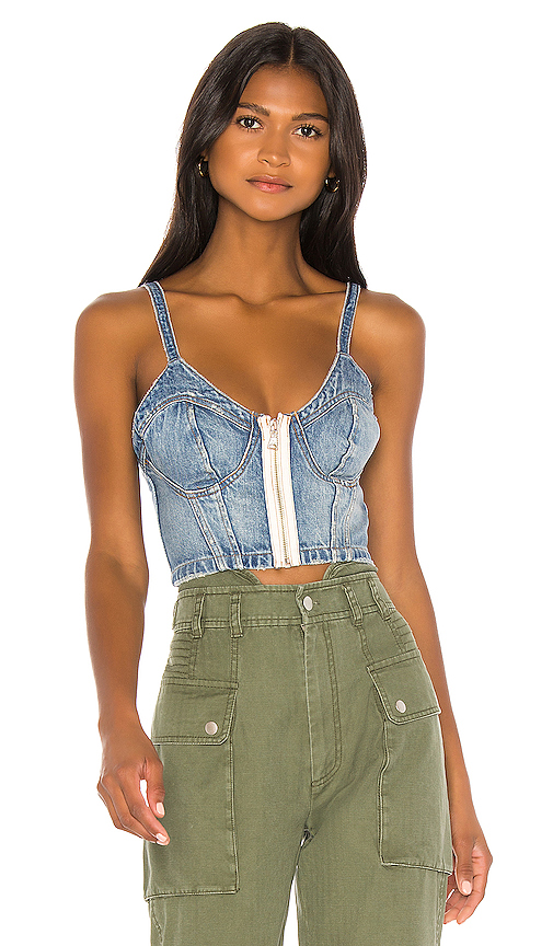 Marissa Webb Cassidy Denim Bustier Top. - size S (also in XS,M)