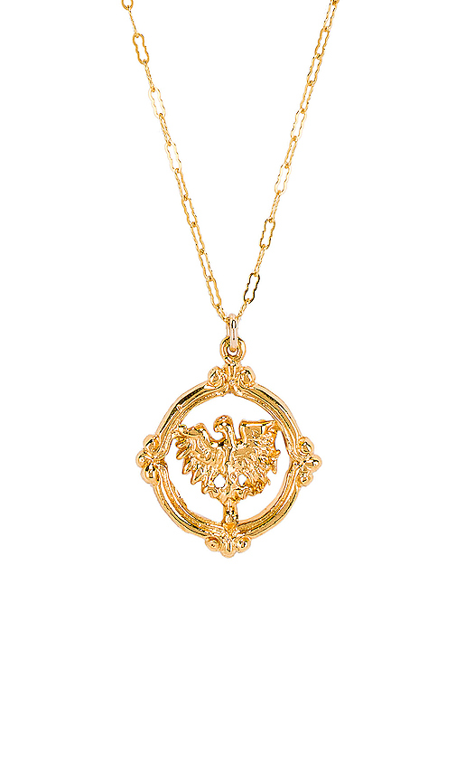 Natalie B Jewelry Golden Eagle Necklace in Metallic Gold.