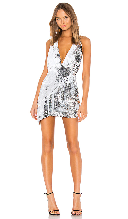NBD Arie Mini Dress in Metallic Silver. - size XXS (also in XS,S,M,L,XL)
