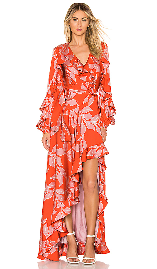 PatBo Leaf Print Ruffle Sleeve Maxi Dress in Pink. - size 6 (also in 4)