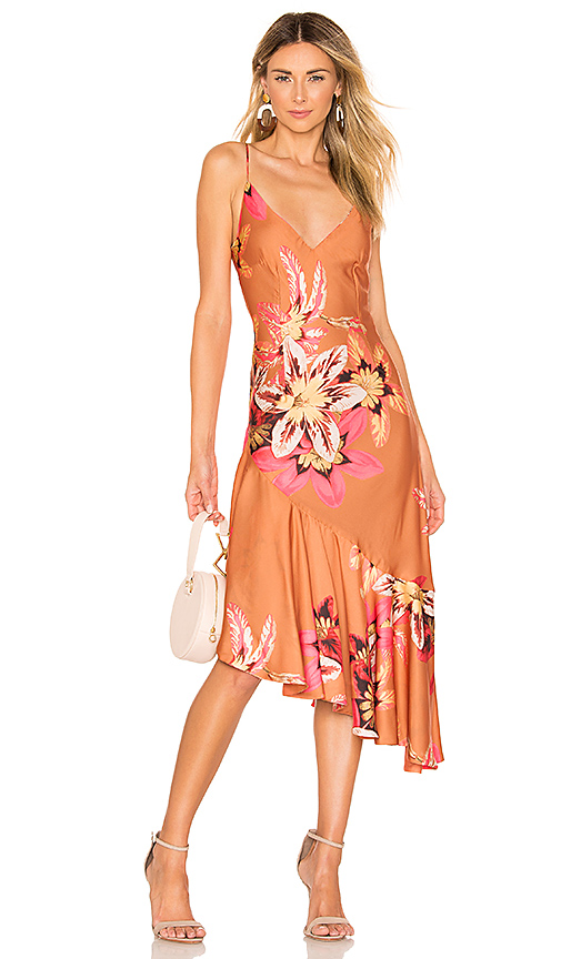PatBo Floral Carmen Ruffle Slip Dress in Orange. - size 2 (also in 4,0,8)