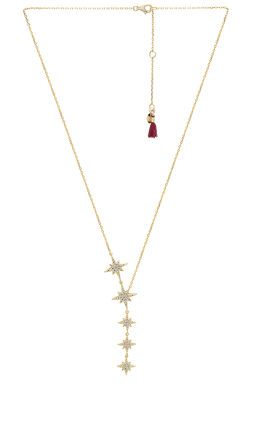 SHASHI Starburst Lariat Necklace in Metallic Gold.