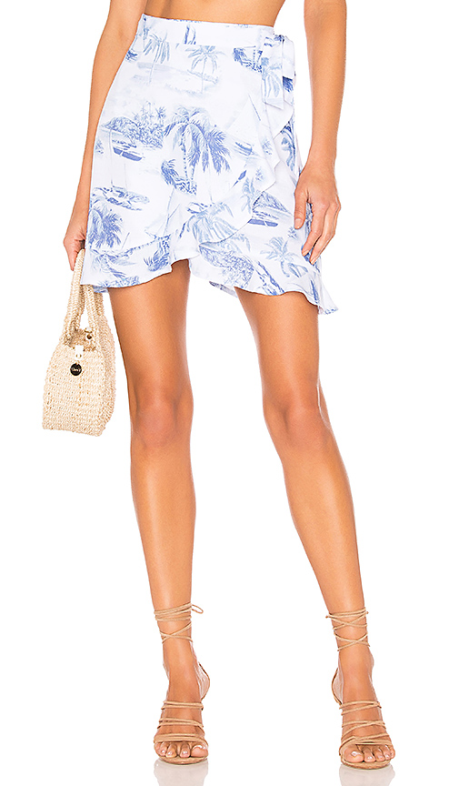 Show Me Your Mumu X REVOLVE Roam Ruffle Skirt in Blue. - size S (also in XS,M,L)