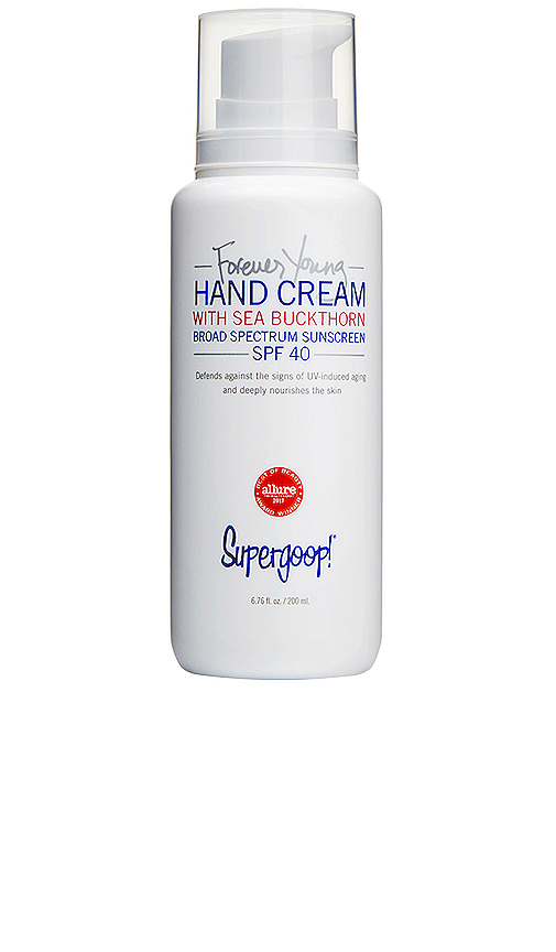 Supergoop! Forever Young Hand Cream SPF 40.