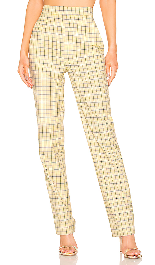 Tibi Marvel Plaid Suiting Pant in Yellow. - size 0 (also in 2,4,8)