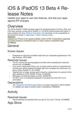 iOS & iPadOS 13 Release Notes - Yaroslav Eremenko & Apple