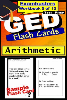 GED Test Prep Arithmetic Review--Exambusters Flash Cards--Workbook 5 of 13 - GED Exambusters
