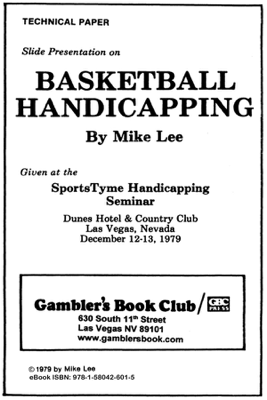 Basketball Handicapping - Mike Lee