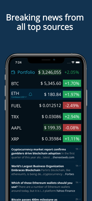HODL Real-Time Crypto Tracker Screenshot