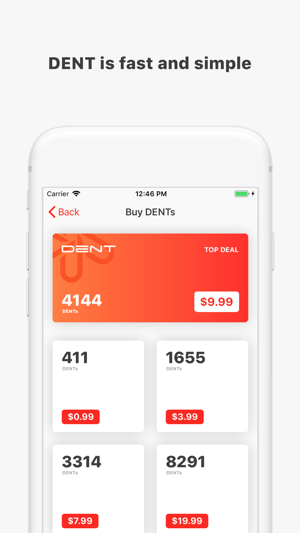 DENT - Send mobile data top-up Screenshot