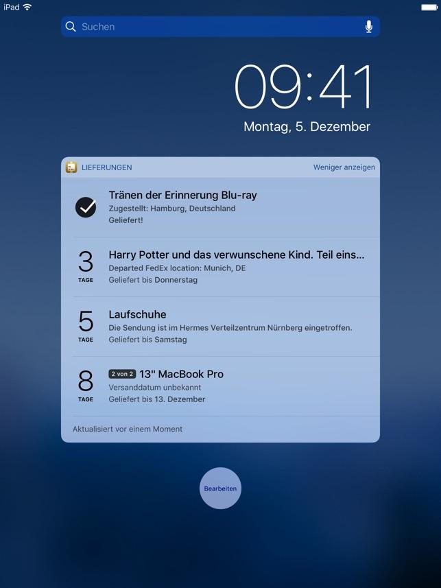 Lieferungen (Deliveries) Screenshot