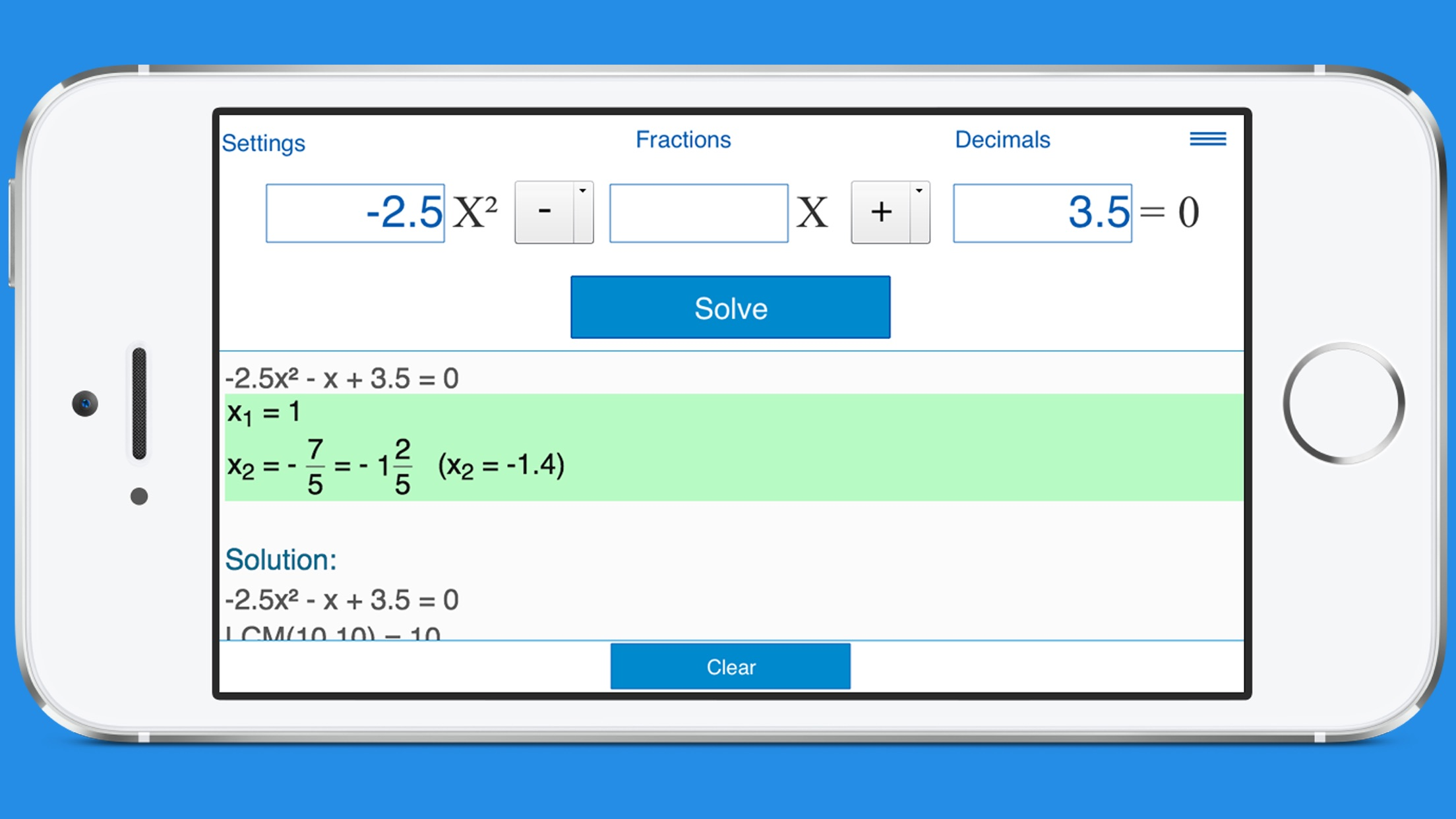 Complex Solutions Of Quadratic Equations Calculator