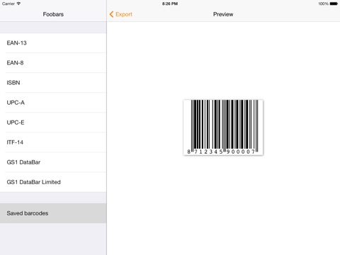 Foobars GS1 Barcode Generator app: insight & download.