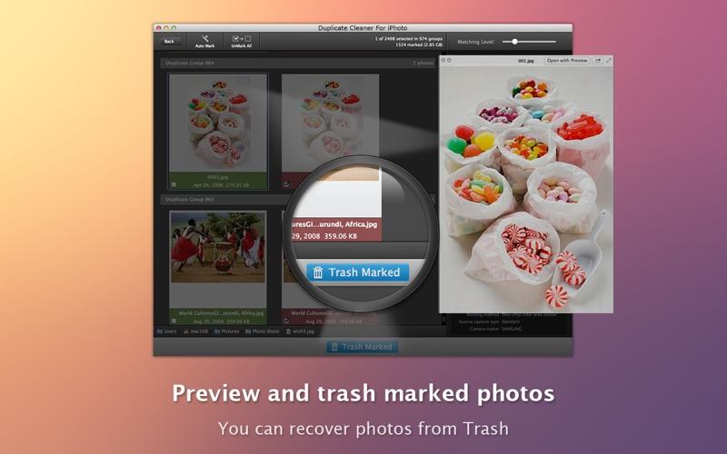 Duplicate Cleaner For iPhoto Screenshot