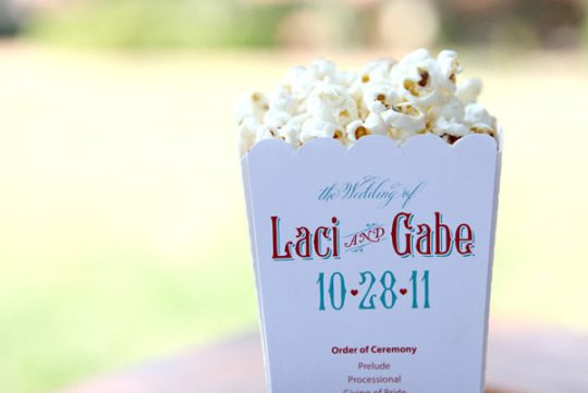 Popcorn Holder Wedding Program via Style Me Pretty