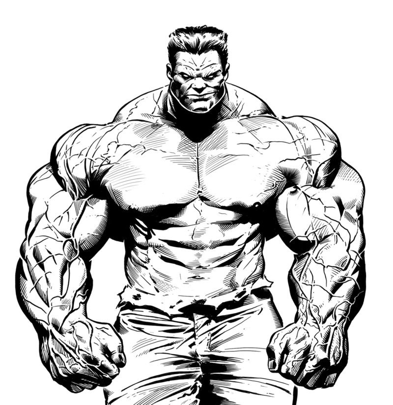 The HULK line drawing (colouring, shading and gradients