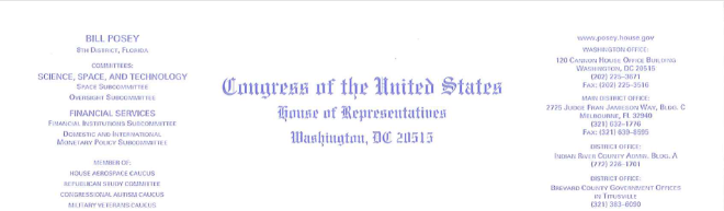 letterhead image of Posey letter to Mnuchin