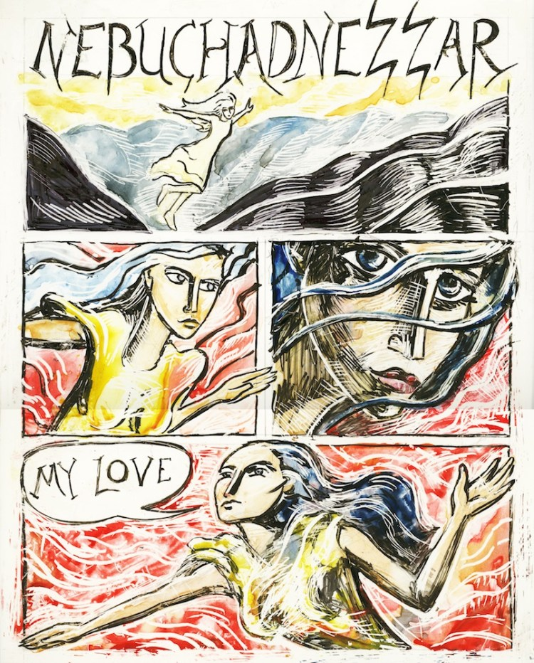 color version of the same page, with some refinements--- watercolor on white scratch board
