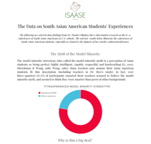 Data on South Asian American Students - Selected Findings from Dr. Rice's Research at JHU