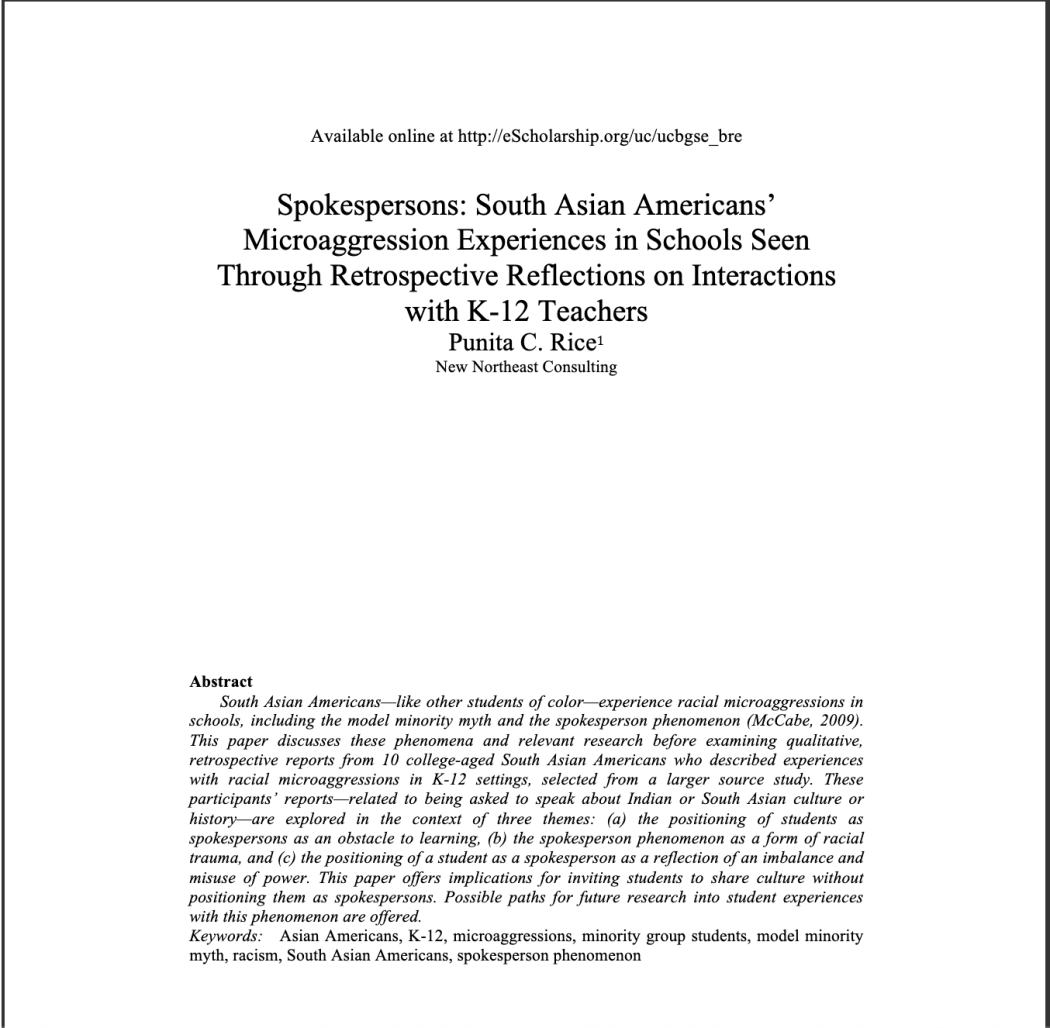 South Asian American Students and Microaggressions (Berkeley Review of Education)