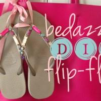 DIY bedazzled flip flops