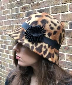 Leopard Print Fur Felt Cloche