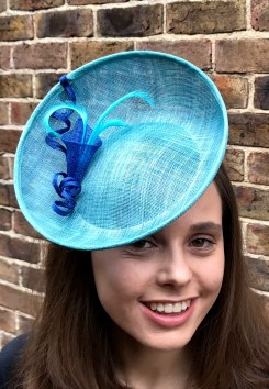Aqua and royal blue sinamay percher