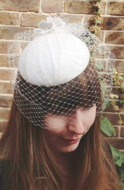 Ivory Silk Bridal Headpiece with Birdcage Veil