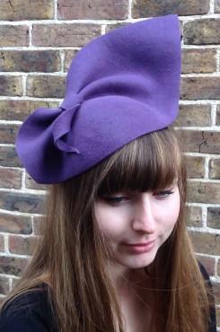 Purple Felt Vintage 1940's Style Half Hat