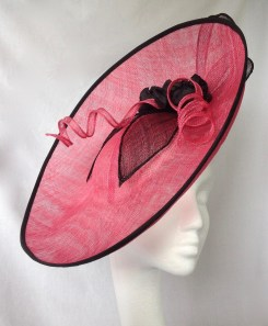 Large Cerise Pink and Black Saucer Percher Hat