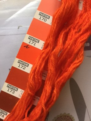 Printed Pantone strip and dyed yarn, showing colours 171 and 172