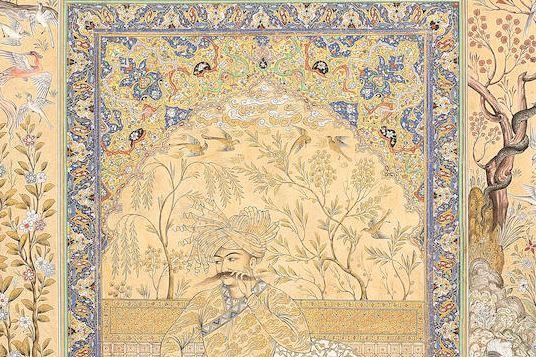 Shah Abbas seated on a terrace, signed Mehdi al-Imami, Iran, 20th c. Bonhams 30.03.21, lot 16, £2.000-3.000