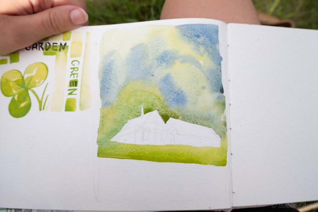 Plein air painting : Mountain barns