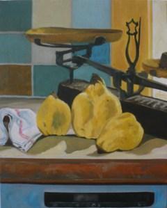 """oil on canvas """"coings dans la cuisine"""""""