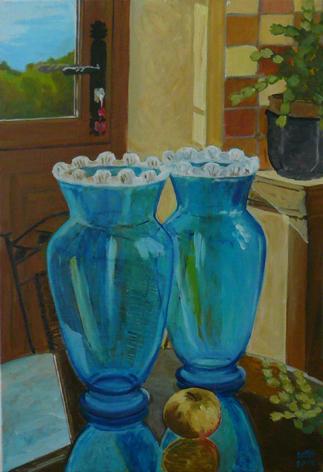 """oil on canvas """"les deux vases"""""""