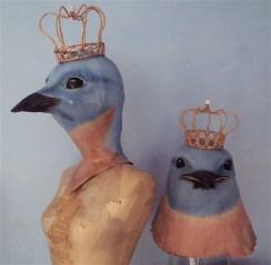 oiseaux bleus couronnés