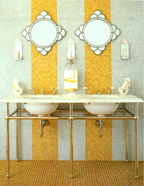 yellow and grey bathroom mirror My Yellow Tile Fever | a perspective of design