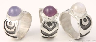Sterling silver, chalcedony, moonstone rings.
